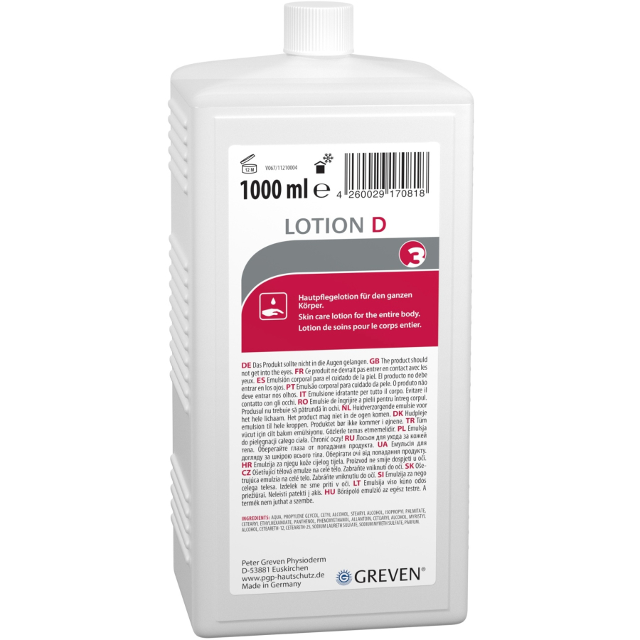 GREVEN® LOTION D   1 Liter    vormals LIGANA® Speziallotion D, Hautpflegelotion für den ganzen Körper