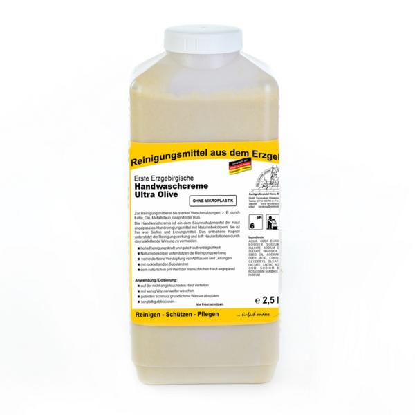 Erste Erzgebirgische Handwaschcreme Ultra Olive | 2,5 Liter  | Handreinigungsmittel ohne Mikroplastik für mittlerer bis starker Verschmutzungen
