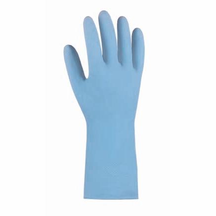 Haushaltshandschuhe/Latexhandschuhe blau velourisiert, 30 cm lang | Größen: S, M, L, XL, Naturlatex, flüssigkeitsdicht, Gitterprofil in der Innenhand, mit Rollrand, Top-Qualität, Stärke 0,4 mm