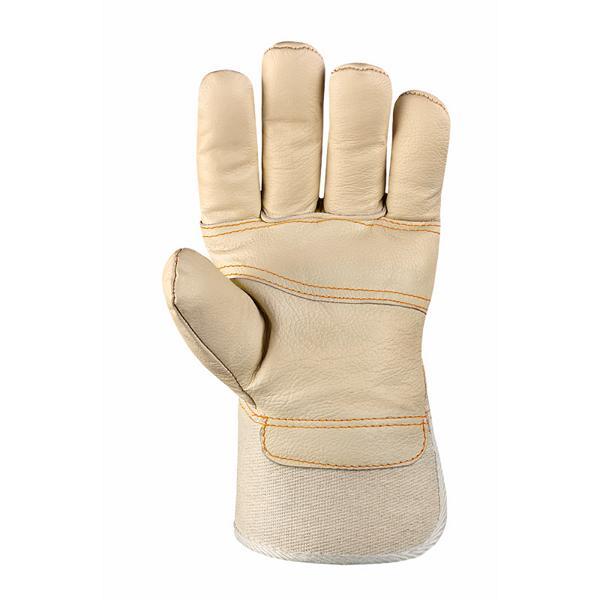 Möbellederhandschuhe, helles Leder, verstärkte Innenhand | weißer Drell aus Baumwolle, ca. 26 cm Länge | Größe 10