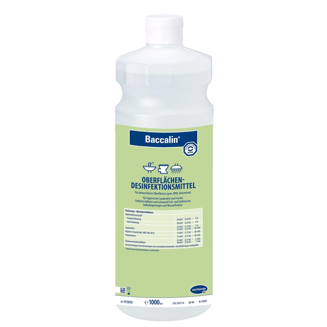 Baccalin |  1 Liter | aldehydfreier Flächen-Desinfektionsreiniger für Nassbereiche und sanitäre Einrichtungen