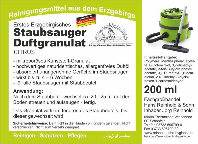 Erstes Erzgebirgisches Staubsauger-Duftgranulat Citrus | 200 ml  | duftende Frische für alle Staubsauger mit Staubbeutel
