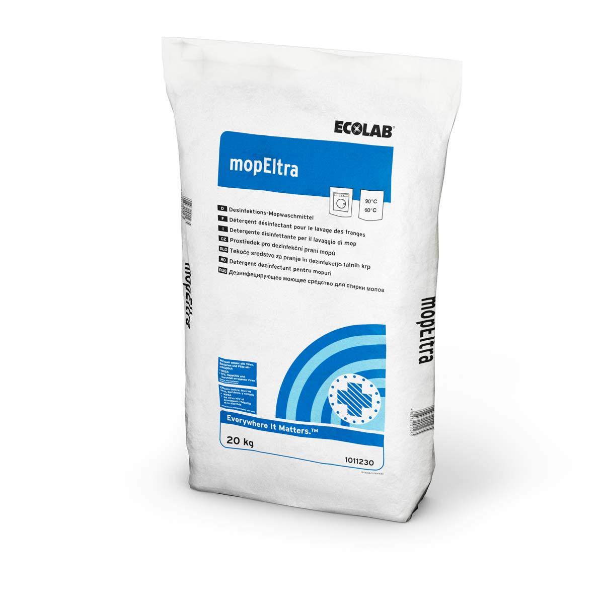mopEltra | 20 kg   | Desinfektions-Mopwaschmittel, gelistet für die chemothermische Wäschedesinfektion gemäß RKI und VAH/DGHM bei 60°C
