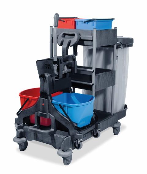 """Reinigungswagen Numatic """"ProCar 6 Plus""""    mit aufgesetztem Doppelfahrwagen """"MidMop Plus"""", 2 x 17-Liter-Eimer rot/blau, Presse, Kunststoffschalen, Abfalleinheit   >>Artikel entfällt 2017, teilweise auf Anfrage lieferbar"""
