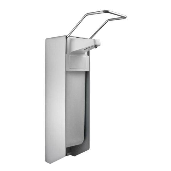 Armhebelspender für 1000-ml-Flaschen | weiß/silber | Kunststoffpumpe mit langem Armhebel