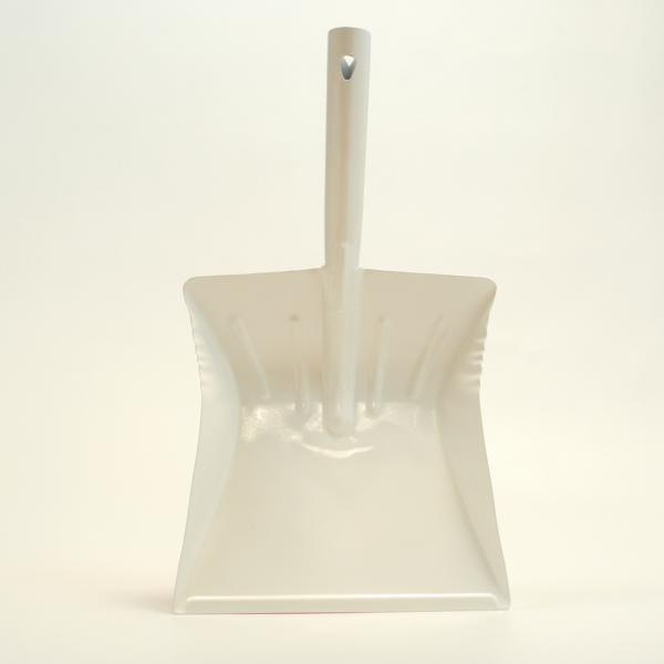 Kehrschaufel Metall | weiß farbbeschichtet  | mit Düllgriff und Aufhängeloch