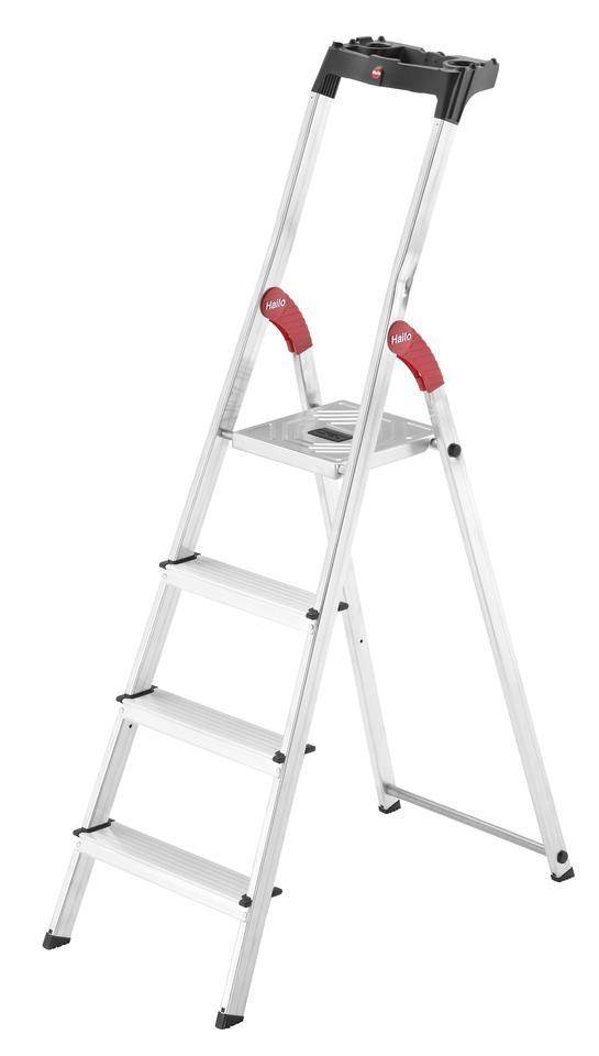 Alu-Sicherheitsleiter Hailo L60 Aluminium | 4 Stufen