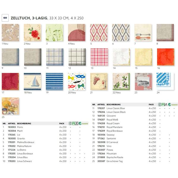DUNI Zelltuch-Servietten 33 x 33 cm, 3-lagig, 1/4 Falz, 250 Stück/Pack | mit Motiv | (bitte 17318-[DUNI-ArtikelNr] angeben)