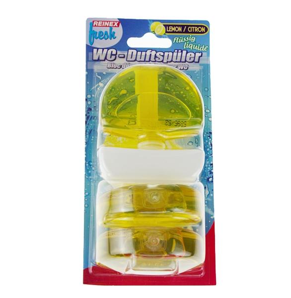 Reinex® WC-Duftspüler flüssig, 1 Körbchen + 3 Nachfüller | Lemone 3 x 55 ml | reinigt und parfümiert, passend für alle WC-Becken