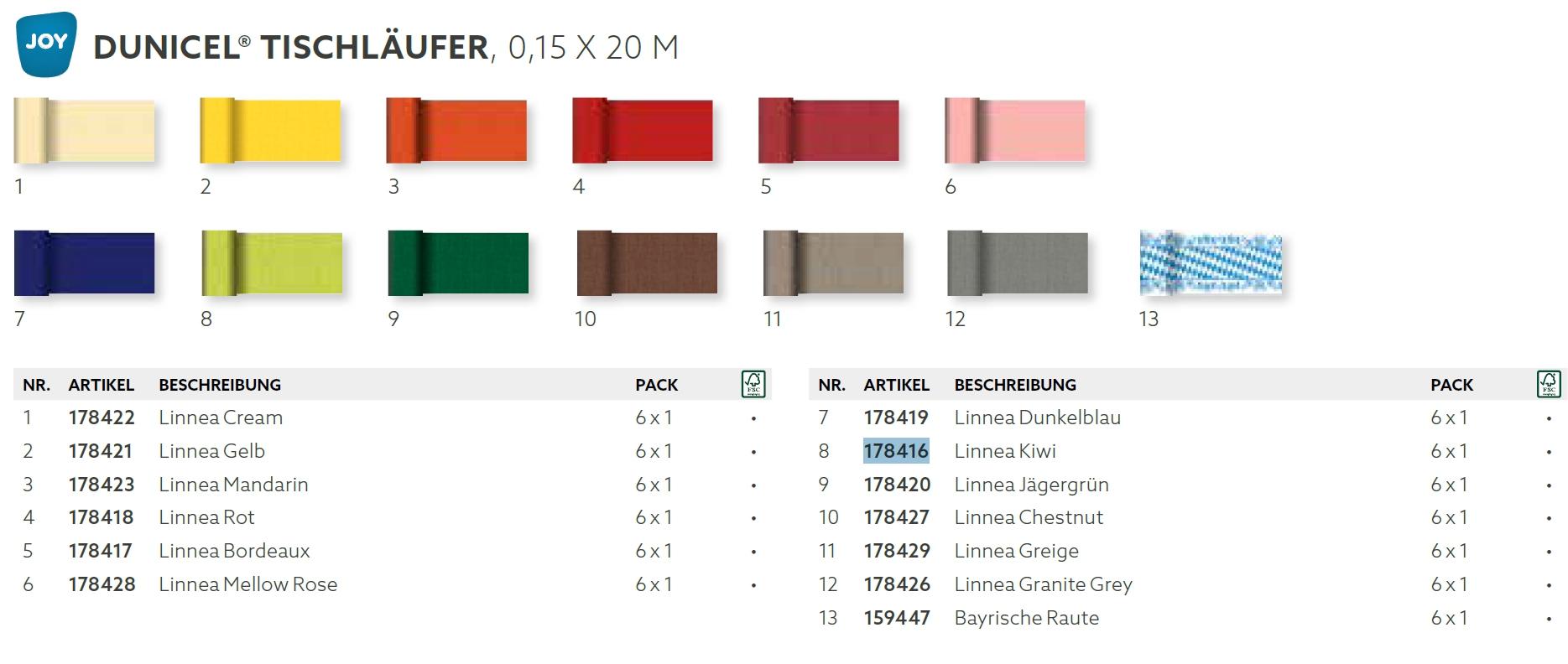 Dunicel Tischläufer 0,15 x 20 m | Linnea uni | (bitte 17810-[DUNI-ArtikelNr] angeben)