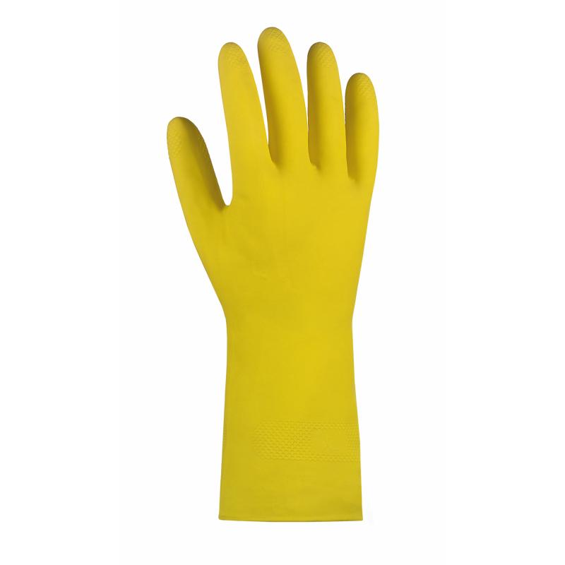 Haushaltshandschuhe/Latexhandschuhe gelb velourisiert, 30 cm lang | nur noch Größe 7  | Naturlatex, flüssigkeitsdicht, Gitterprofil in der Innenhand, mit Rollrand, Top-Qualität, Stärke 0,4 mm  | >>Abverkauf>>Artikel dann nicht mehr lieferbar>>Artikel 6608