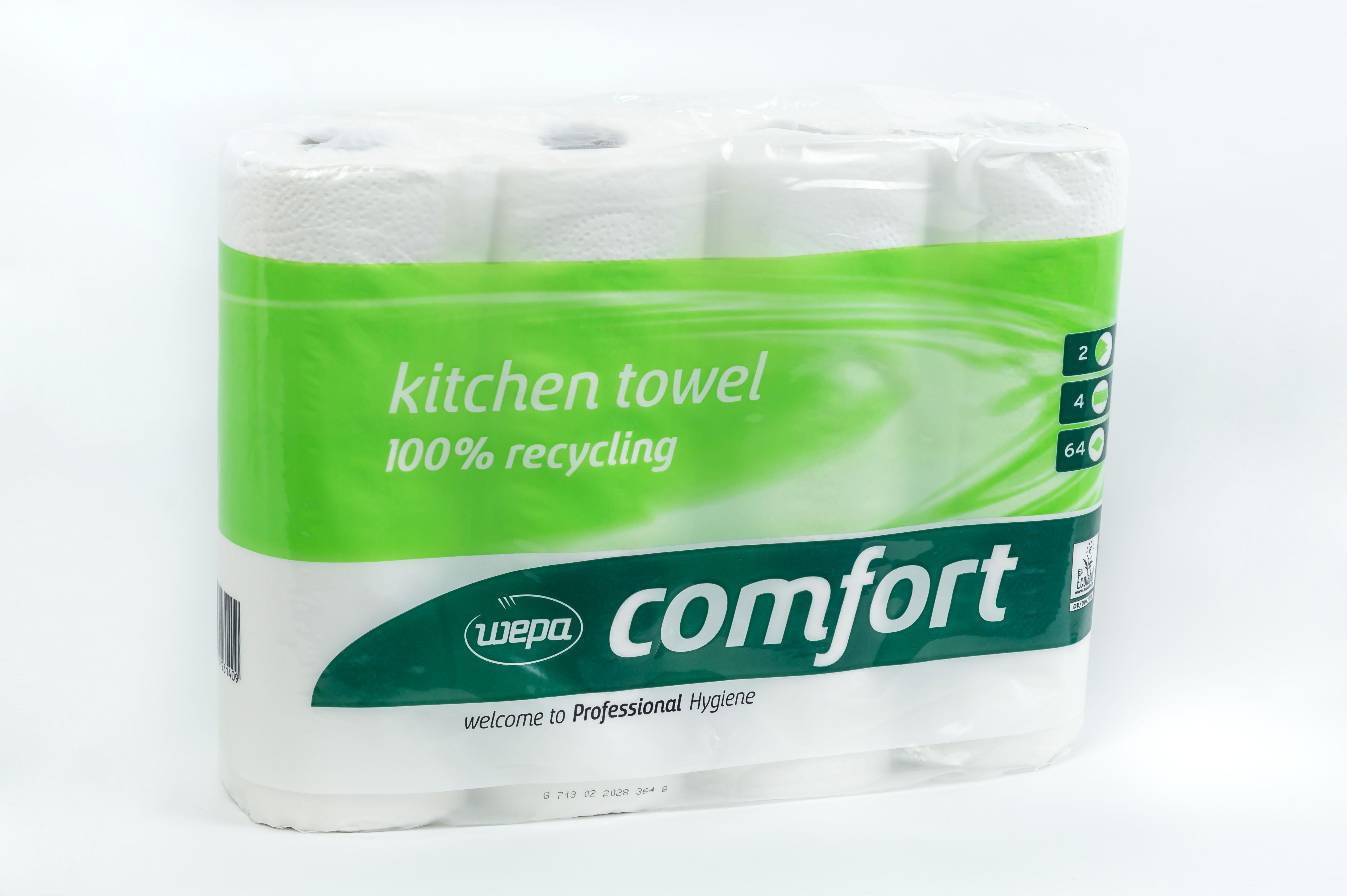 Küchentücher, Küchenrolle Wepa Comfort 2-lagig | 100% Recycling | 4 Rollen