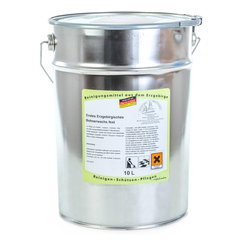 Erstes Erzgebirgisches Bohnerwachs fest   10 Liter    zur Reinigung und Pflege gewachster Böden, farblos