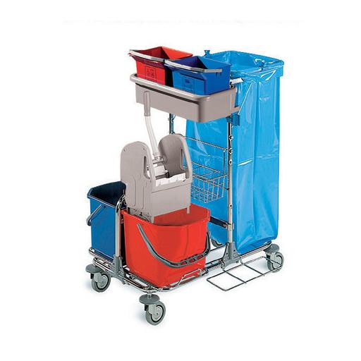 """Reinigungswagen """"Techno 01"""" Chromstahl-Polypropylen   2 x 15 Liter    inklusive 120 Liter Abfalleinheit, Kunststoffwanne für 2 Eimer á 6 Liter, 1 Presse, 2 Eimer á 15 Liter  """