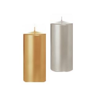 HOME FASHION Stumpenkerze 150 x 70 mm | Farbe: silber oder gold  | Material: Paraffinwachs, Brenndauer: ± 57 h