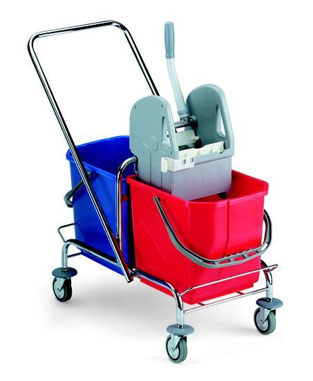Doppel-Fahrwagen Roll verchromt | 2 x 15 Liter | Reinigungswagen