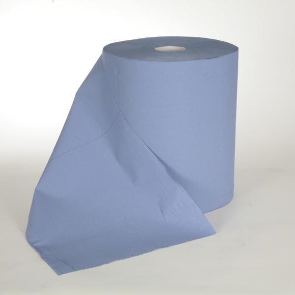 2 Rollen Papierhandtücher Putztuchrolle Außenabrollung 2-lagig, Zellstoff blau, perforiert 1000 Blatt/Rolle, 36 cm breit