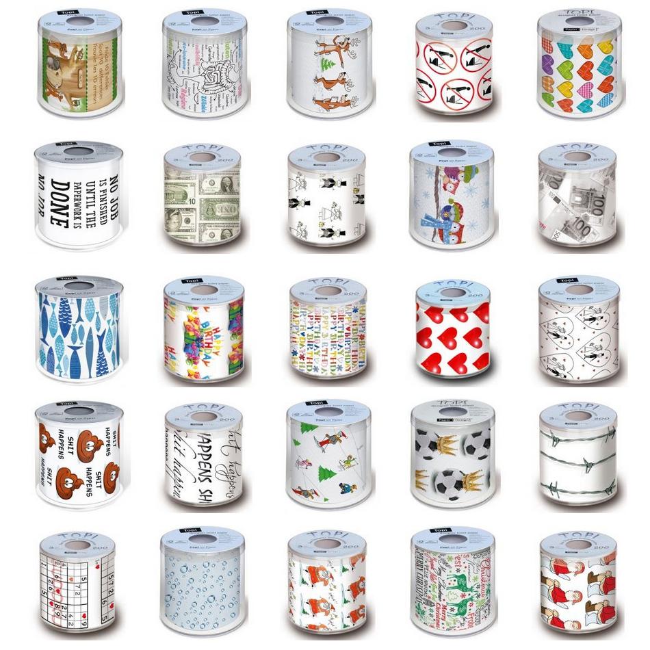 Toilettenpapier 3-lagig, farbig bedruckt | 200 Blatt/Rolle | in Geschenkklarsichtbox verpackt PAPER+DESIGN  | (bitte 17894-[PAPER-ArtikelNr] angeben)