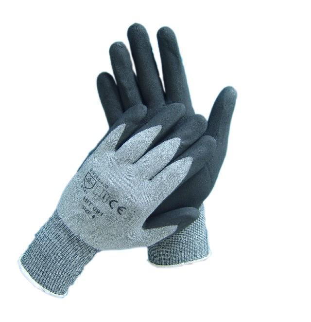 Arbeitsschutzhandschuhe Nitril- beschichtet, schwarz-grau | Größen: 7 - 11  | gesandet, mit Nitrilbeschichtung auf den Handinnenflächen und Fingerspitzen, Handrücken und Fingeroberseiten frei, Strickbund
