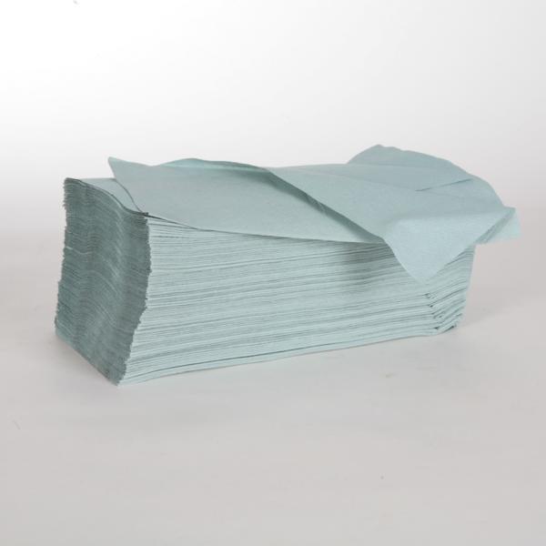 Papierhandtücher 1-lagig, 25 x 23 cm, Zick-Zack-Falz, grün |  5.000 Blatt/Karton | Flächengewicht:36 g/m²