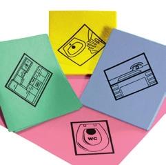 Feuchtwischtuch mit Piktogrammen 35 x 40 cm | 10 Stück/Pack | mit antibakterieller Ausrüstung, gelb - Waschbecken | rosa - WC | blau - Schreibtisch | grün - Küche