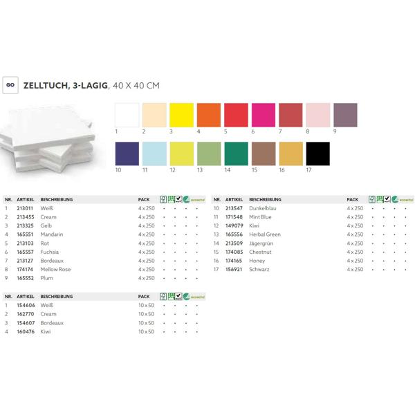 DUNI Zelltuch-Servietten 40 x 40 cm, 3-lagig, 1/4 Falz, 250 Stück/Pack | Uni | (bitte 17232-[DUNI-ArtikelNr] angeben)