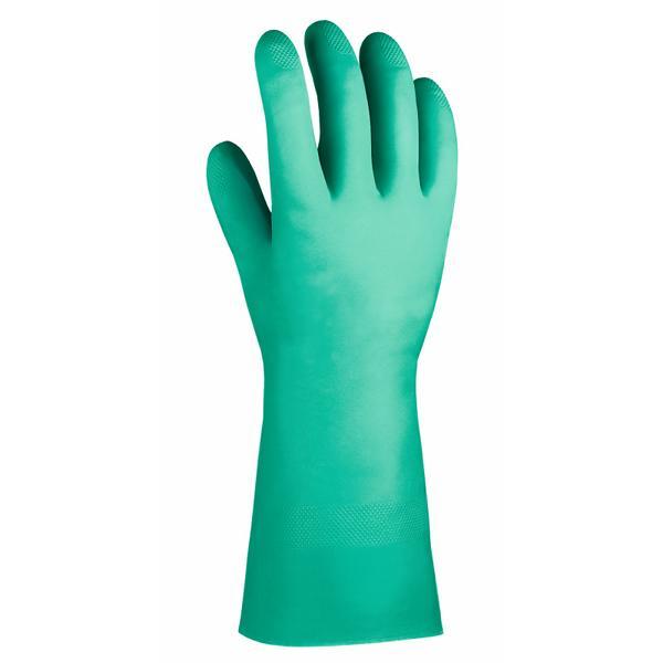 Chemikalienschutzhandschuhe aus Nitril, ca. 32 cm lang, grün | gemäß EN 388 und EN 374 - Kategorie 3, Größen: 7 - 10