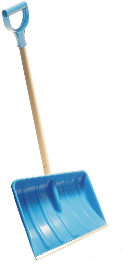 Schneeschieber 48 cm breit, blau mit Alukante | komplett mit Holzstiel und Kunststoffgriff