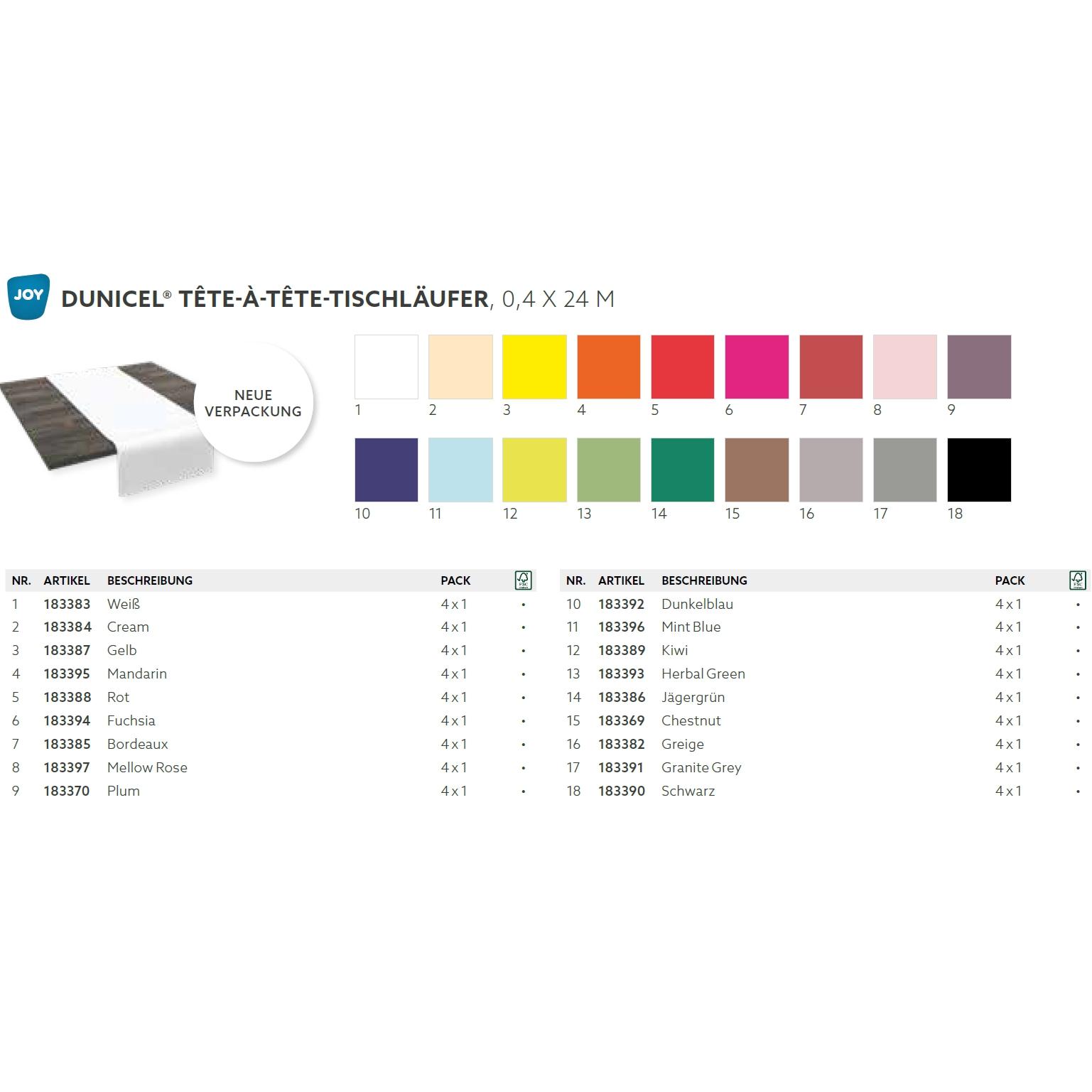 Dunicel Tischläufer 0,4 x 24 m  | Tete-á-Tete Uni  | perforiert, 20 Abschnitte je 1,20 m (bitte 17240-[DUNI-ArtikelNr] angeben)