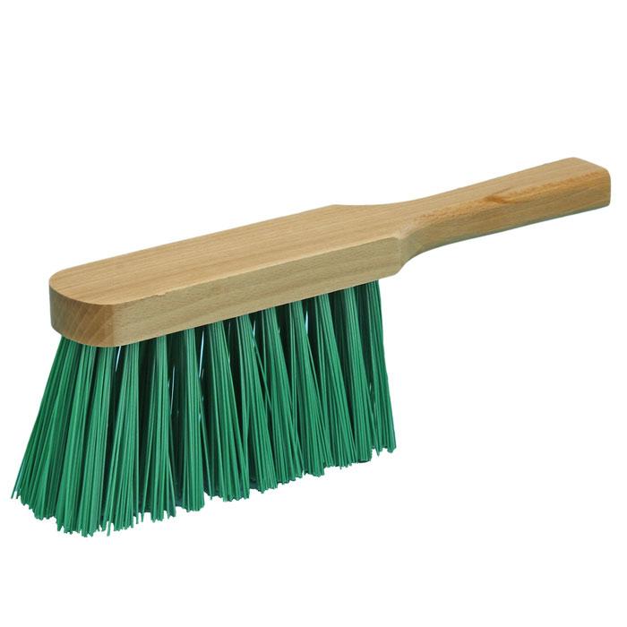 Handfeger 30 cm, Borsten: Kunstborstenmischung grün, Körper: Holz farblos gewachst  | für Grobreinigung von Natursteinmauern