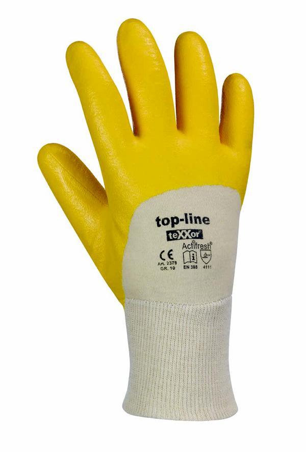 Arbeitsschutzhandschuhe Nitril- beschichtet, mit Strickbund, gelb, Topline-Qualität | Größen: 7 - 10 | gute Abriebfestigkeit, flexibel, sehr gute Passform, sehr hoher Tragekomfort