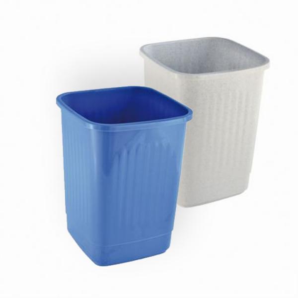 Abfallbehälter, Papierkorb 12 Liter eckig, geschlossen | ohne Deckel, passender Schwingdeckel Artikel A70686