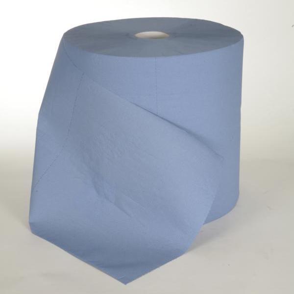 """1 Rolle Papierhandtücher Putztuchrolle Außenabrollung 3-lagig, Zellstoff blau, perforiert, """"TRIO"""", 1000 Blatt/Rolle"""