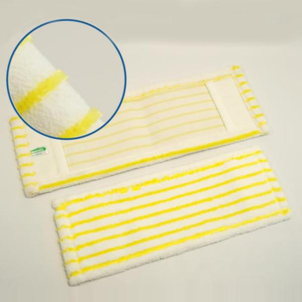 Mikro-Borstenmopp 40 cm | weiß/gelb | Mikrofaser-Mopp mit doppelten Polyamidborsten-Streifen, Aufnahme: Tasche