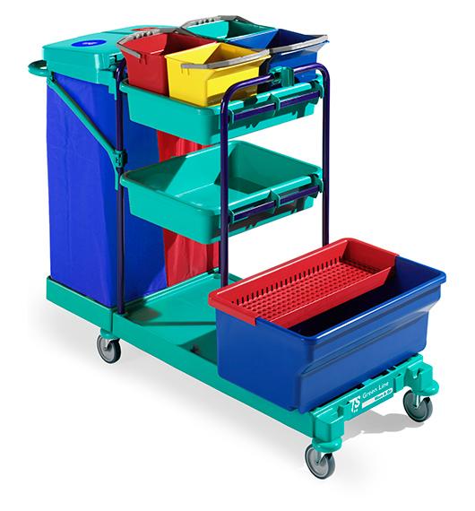 "Reinigungswagen Green Line ""Green 440 blue"" | Desinfektionswanne, Gitterschale, Kunststoffschalen, 6-Liter Eimer, Abfalleinheit"