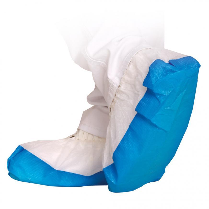 Überschuhe weiß-blau   70 Stück   mit starker CPE-Sohle