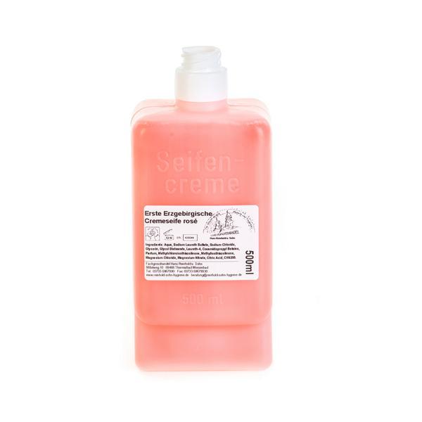 Erste Erzgebirgische Cremeseife rosé, mit Parfüm |   500 ml  | Softflasche/Patrone passend für CWS-Spender, für häufige Anwendung bei leicht verschmutzten Händen und zur Körperwaschung im Pflegebereich