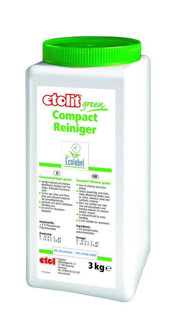 etolit® green Compactreiniger | 3 kg  | blockförmiger Geschirrreiniger, hochalkalisch, frei von Chlor, Phosphat und NTA/EDTA