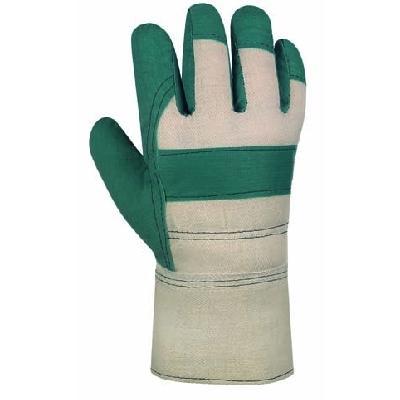 Arbeitschutzhandschuhe, Vinyl-Handschuhe, grün, imprägniert  | Größe 10 | weißer Drell