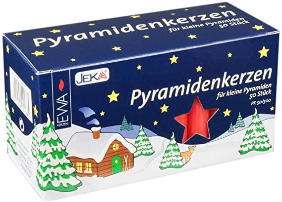 JEKA Pyramidenkerzen, Adventskerzen, klein | 50 Stück | rot