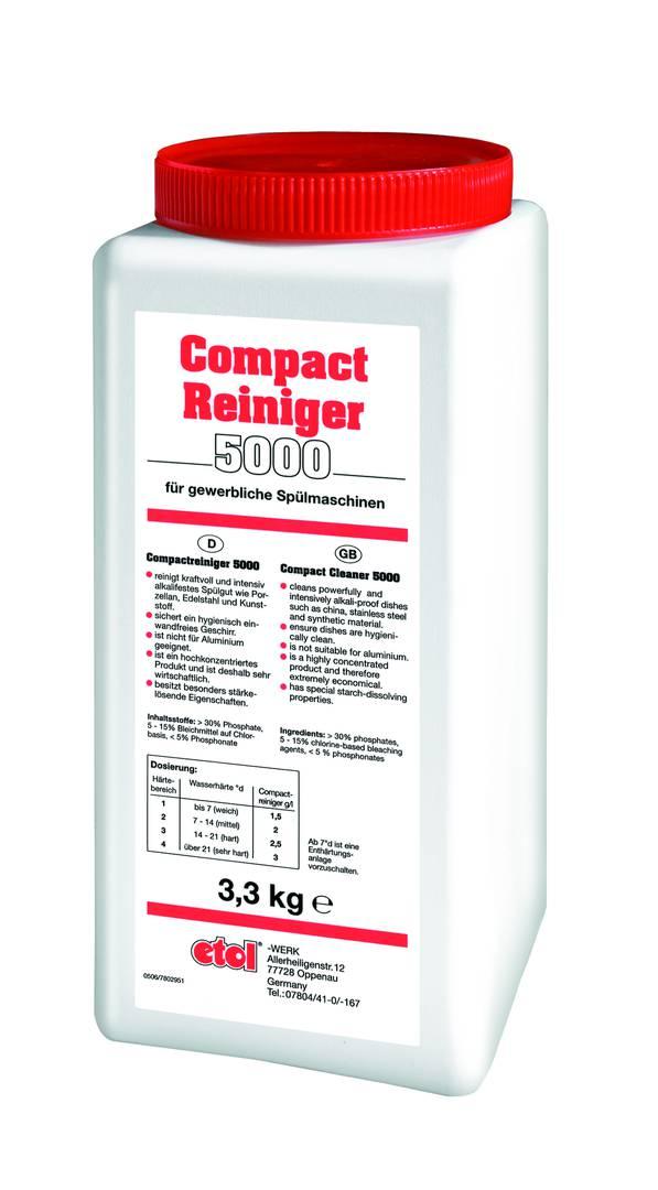 etolit Compactreiniger 5000 | 3,3 Kg  | blockförmiger Geschirrreiniger, stark hochalkalisch, stärkelösend, bleichend, für geringe Wasserhärten geeignet