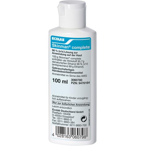 Ecolab® Skinman® complete Händedesinfektionsmittel    100 ml   viruzides alkoholisches Desinfektionsmittel  für die hygienische und chirurgische Händedesinfektion
