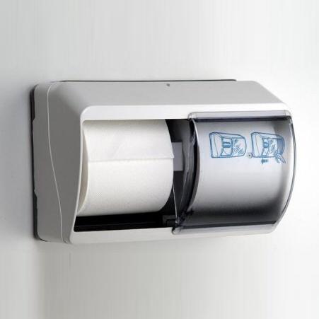 Toilettenpapier-Rollen-Spender für 2 Rollen   Kunststoff weiß mit transparentem Deckel