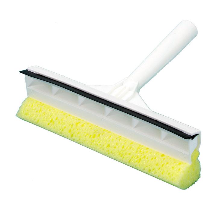 Fensterschwammwischer mit Griff   20 cm weiß   Griff mit Einwascher (Schwamm) und Abzieher (Gummilippe)