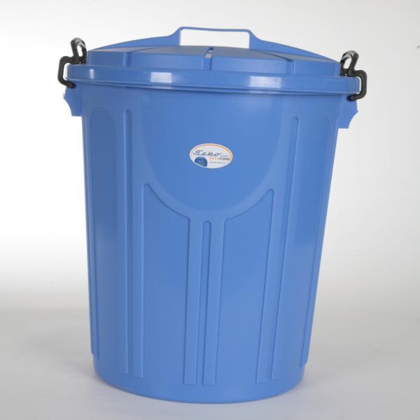 Abfallbehälter, Universalbehälter 23 Liter mit Deckel und Bügelverschlüssen | Uni-Tonne, Ø 33,5 cm, Höhe: 37,5 cm, Farben: granit, blau
