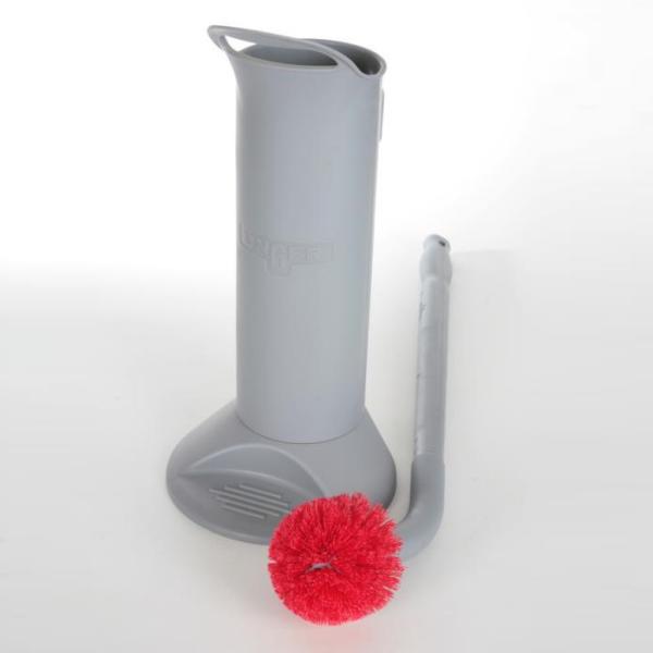 WC-Garnitur, professionelle ERGO Toilettenbürste (66 cm)  komplett mit Halter, BBWHR | Profibürste für die Unterhaltsreinigung | Toilettenbürste rot | Bürstenhalter | Ersatzkopf rot