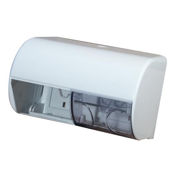 Toilettenpapier-Rollen-Spender für 2 Rollen   Kunststoff weiß mit transparentem Deckel, Rollen nebeneinander angeordnet