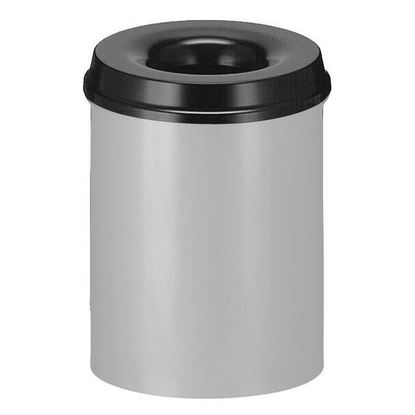 Abfallbehälter: Feuerlöschender Papierkorb rund, geschlossen, aus Metall | 15 Liter  | aluminiumfarben mit schwarzem Deckel, löscht selbständig brennenden Abfall