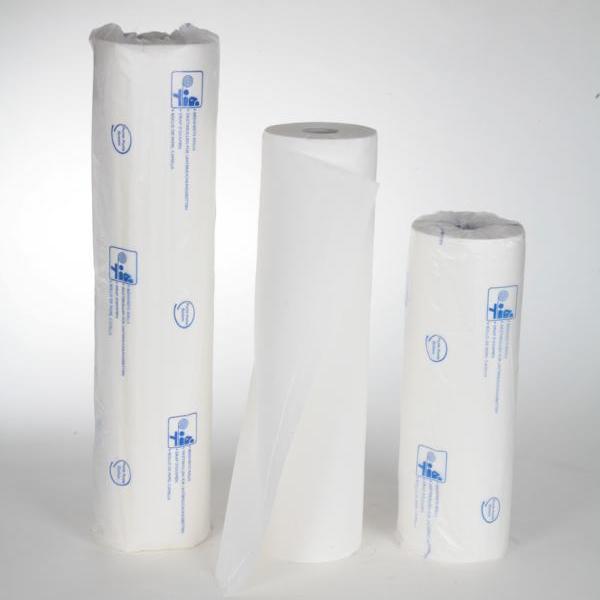 Ärzterollen 2-lagig, 50 cm x 50 m, 100% Zellstoff weiß, 132 Blatt/Rolle | 9 Rollen