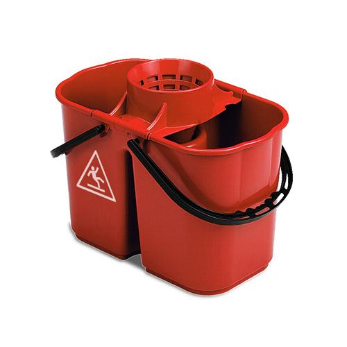 Doppeleimer/Zweikammereimer Fox 8 + 6 Liter mit Wringsieb | rot